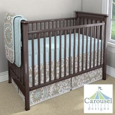 Taupe Suzani Bedskirt with Espresso Crib