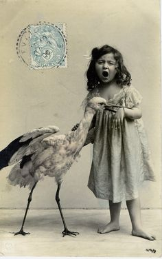 c. 1890s:  Girl and a stork