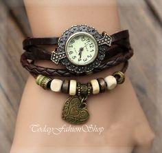 Lady Watch, Vintage Wrist Watch, Love watch, Leather Bracelet, Hand Woven Bracelet Watch BW-2