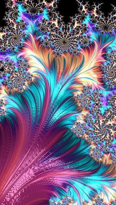 Fractal Art by Rosiekerr Fractal Images, Fractal Art, Kaleidoscope Art, Art Antique, Fractal Design, Cellphone Wallpaper, Psychedelic Art, Sacred Geometry, Pretty Pictures