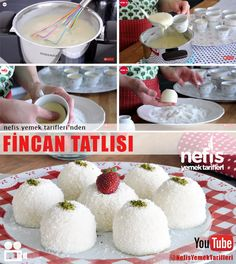 rezept Video presentation Fincan Tatlısı How To? people in the book of the video narration of Fincan Tatlısı and photos of the experimenters here. Cookie Desserts, Chocolate Desserts, Easy Desserts, Delicious Desserts, Yummy Food, Dessert Recipes, Arabic Dessert, Arabic Food, Turkish Sweets
