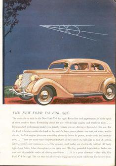 VINTAGE 1936 FORD V-8 CAR AUTO AD