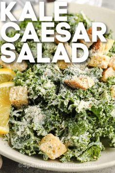 Homemade Kale Caesar Salad is a sweet green dream! Savory creamy Caesar dressing will have everyone asking for the recipe. #spendwithpennies #kalecaesarsalad #sidedish #recipe #panera #sweetgreen #powerfood #best #healthy #creamy