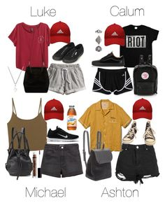 """""""5SOS Styles: Red adidas Cap for Community Service in Hot Weather"""" by fivesecondsofinspiration ❤ liked on Polyvore featuring Boohoo, Converse, adidas, H&M, Opening Ceremony, Fjällräven, adidas Golf, Vans, NIKE and Superga"""