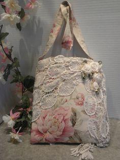 Pink  Rose Shabby Chic Vintage Dolies  Handmade Roses Handbag