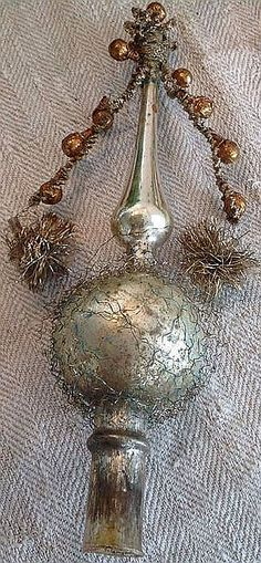 Victorian Wire Wrapped Mercury Glass Christmas Tree Topper