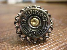 20 gauge/12 gauge Filigree Silver Shotgun Shell Ring, Upcycled Ammo by OnceFiredJewelry on Etsy.com