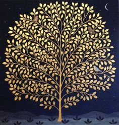 """thewoodbetween: """" Night Tree by Jethro Buck. Gilded tree, opaque water colour on indigo dyed linen. """""""