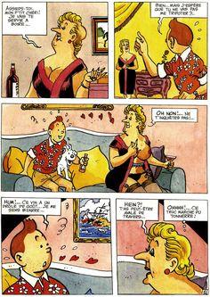 """la planche complète de La vie sexuelle de """"Tintin et autres histoire érotiques"""", une curiosité amusante qui trouve son intérêt dans le fait que pour une fois la parodie respecte relativement le style graphique d'Hergé."""