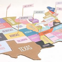 Map of The USA Jigsaw Puzzle. Print and glue onto cardboard. With cute little question flags :)