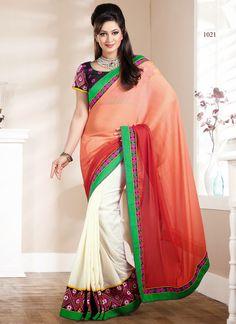 Wholesale Orange & Cream Wholesale Sarees  Visit: http://www.wholesalesalwar.com/sarees/catalog