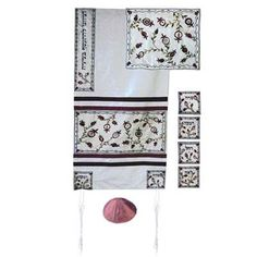 This breathtaking raw silk tallit with an embroidered pomegranates motif featuring the names of the four Hebrew Matriarchs (Sarah, Rivka, Rachel, and Leah) on the corners will be an extraordinary addition to your spiritual ritual.