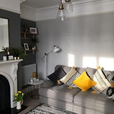 Outstanding small living room designs are offered on our site. Have a look and you wont be sorry you did. Grey And Yellow Living Room, Navy Living Rooms, New Living Room, Home And Living, Small Living, Cozy Living, Grey Yellow, Dark Grey Walls Living Room, Colour Schemes For Living Room Grey