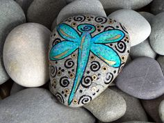 Dragonfly Blessings / Painted Rock / Sandi Pike by LoveFromCapeCod