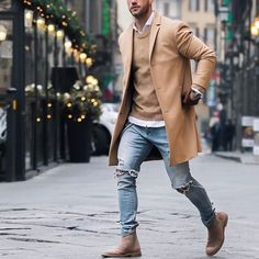 Outfit by @magic_fox - camel coat distressed jeans and chelsea boots [ http://ift.tt/1f8LY65 ]