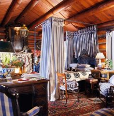 Interior Designer Charles Faudree: French Flair | Traditional Home. love the mix of fabrics and textures.