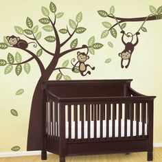 3 Monkey Tree and Branch Vine Kid Wall Decals Baby by SimpleShapes