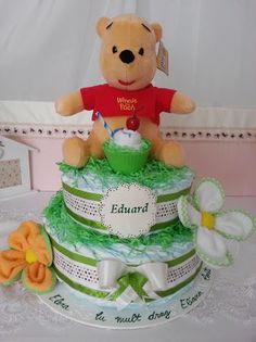 Winnie the Pooh themed Diapers Cake