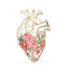 Floral Anatomical heart Cross Stitch Pattern cross stitch