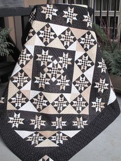 $79.99 Primitive Gatherings Black Cream 45 & Life to Go Quilt Kit Fabric FREE SHIP #PrimitiveGatherings