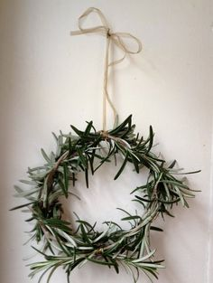 Seasonal Décor: Wreaths of Foliage beautiful mini rosemary wreath makes a great scandi christmas decoration and an easy craft project Noel Christmas, Winter Christmas, Winter Holidays, All Things Christmas, Christmas Wreaths, Christmas Crafts, Xmas, Winter Wreaths, Spring Wreaths