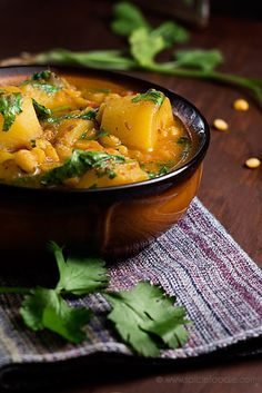 Potato and Yellow Split Pea Curry Recipe (Vegan with Meat Option) by Spicie Foodie @SpicieFoodie