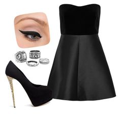 """""""Dark date"""" by jennaduckrose ❤ liked on Polyvore featuring RED Valentino, Giuseppe Zanotti and LORAC"""