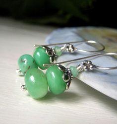 Genuine Chrysoprase Earrings, Sterling Silver Gemstone Dangle, Stacked Green Rondelle, Natural Stone Jewelry, Apple Jade Green Earrings