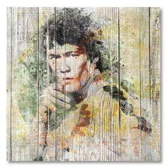 Tableau décoratif effet bois Bruce Lee cinéma