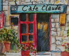 Cafe Claude  Original French Scene Painting in by Artististique, $110.00