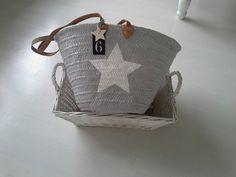 Ibizatasche/Korbtasche/Strandtasche/Tasche Stern von rosa rot auf DaWanda.com