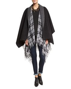 Fisher Project Baby Alpaca Poncho, Soft Wool Plaid Poncho & Organic Soft Stretch Skinny Jeans by Eileen Fisher at Neiman Marcus.