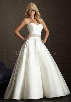 Popular Sweetheart Princess Spring Satin Chapel Train Wedding Dress