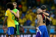 Germans console Brazilians after historical defeat! Had been 94 years that Brazil suffered something similar against Uruguay with a 0-6 defeat! World Cup 2014
