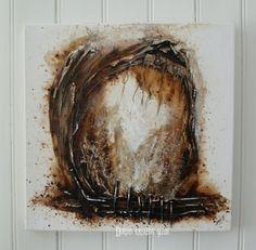 """""""i mitt indre"""" malt med kaffe og acryl. 50x50cm"""