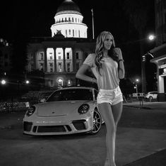 For decades, a sales technique at auto shows employs female models attired in tight dresses or miniskirts wearing uncomfortable heels, smiling and posing enchantingly. Porsche Autos, Porsche Cars, Porsche 356, Sexy Cars, Hot Cars, Allroad Audi, Sexy Autos, Volkswagen, Car Poses