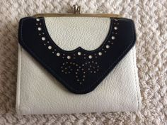 018349202c5d33 Vintage Princess Gardner Snap Coin Purse Cowhide White Black Flap Wallet.  Adrie Present · vintage leather wallets
