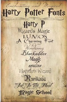 You can use these Harry Potter Fonts for lots of different projects but if your'e having a Harry Potter Themed Party, they will be great to make party invitations, food labels or place labels. Follow the link to download these fonts; http://www.hellopapermoon.com/2013/03/enchanting-and-magical-harry-potter.html Related PostsMade With Love By You – Party Ideas – Harry Potter Potion Bottle LabelsMade