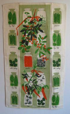 Vintage Vera tea towel  Herbs and Spices