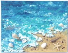 Beach painting of shoreline with real starfish, shells, and small rocks, Dimentional 3d painting, 11x14 ocean painting, aqua teal seascape