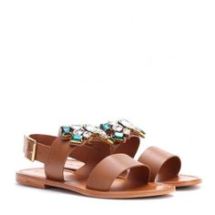 Marni Embellished Leather Sandals (820 BRL) ❤ liked on Polyvore featuring shoes, sandals, brown, marni, brown leather sandals, leather sandals, embellished leather sandals and genuine leather shoes