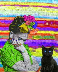 BLACK CAT FRIDA Kahlo Fabric Quilt Sew On Applique BLACK CAT FRIDA Kahlo Fabric Quilt Sew On Applique Frida Kahlo Thinking Frida with her black cat pal. This is an interesting applique to add to your crafty fabric quilt sew on projects. Frida Kahlo Fabric, Applique, Crafty, Quilts, Inspired, Sewing, Unique Jewelry, Handmade Gifts, Hot