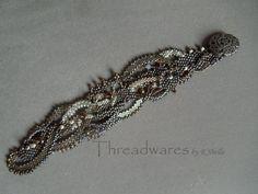 Freeform Peyote Bead woven cuff bracelet by Threadwares on Etsy, $60.00