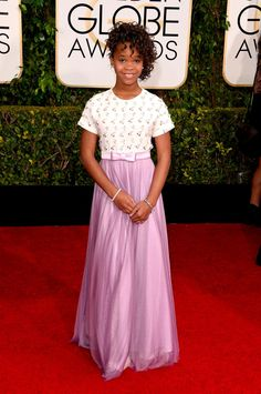 quvenzhané wallis in armani at the 2015 #goldenglobes