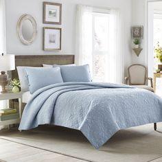 Laura Ashley Felicity Breeze Blue Cotton 3-piece Quilt Set by Laura Ashley
