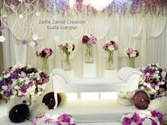 Pelamin by ZZCKL Interested kindly call, pm, whatsapp 019 2939023 or email us at zaifiecreation@yahoo.com Wedding Inspiration, Wedding Ideas, Backdrops, Stage, Wedding Decorations, Weddings, Bridal, Purple, Party
