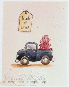 Cute vintage blue pickup with bed full of pink hearts done with watercolors.