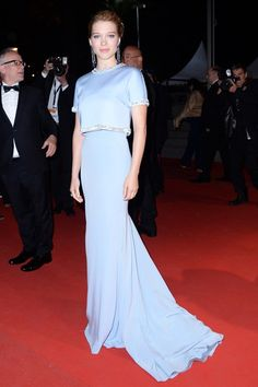 """Léa Seydoux wore a gown by Miu Miu with Chopard jewels to attend the """"The Lobster"""" premiere in Cannes. Party Fashion, Fashion Show, Fashion Outfits, Vogue Fashion, Star Fashion, Cannes Film Festival 2015, Cannes 2015, Cheryl Fernandez Versini, Oscar Dresses"""