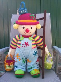 Handmade doll clown Soft doll Amigurumi doll by KnittedToysNatalia
