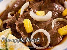 Pineapple Bistek http://www.panlasangpinoymeatrecipes.com/pineapple-bistek.htm #Pineapple #Bistek